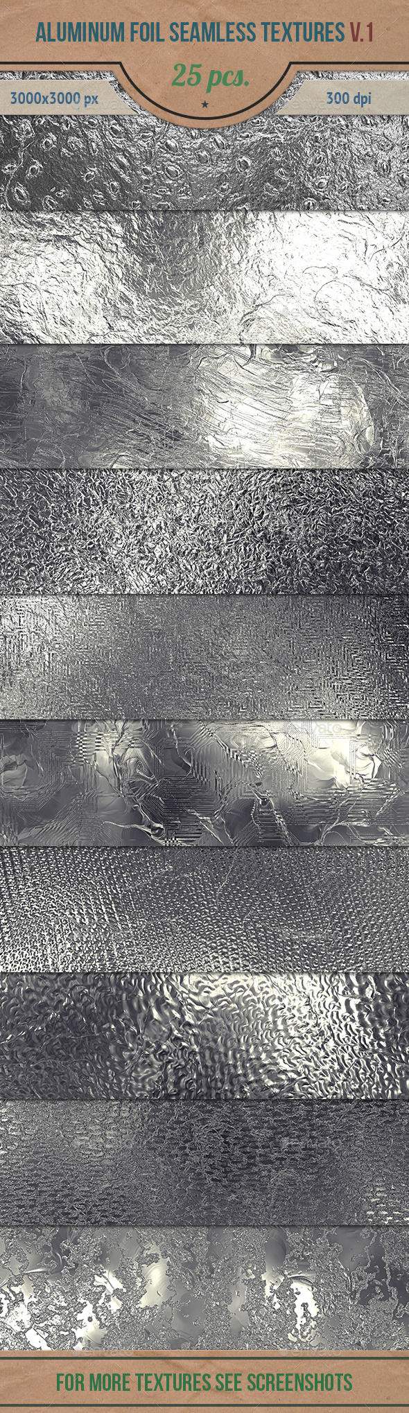 Aluminum Foil Seamless HD Textures Pack v.1 - Metal Textures