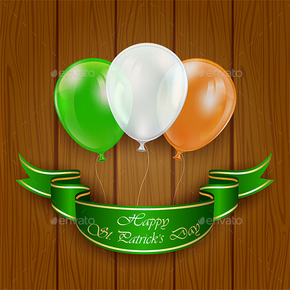 Patricks Day Balloons on Wooden Background - Backgrounds Decorative