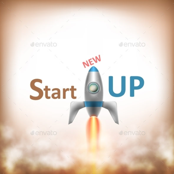 New StartUP Text With Flying Rocket. - Concepts Business