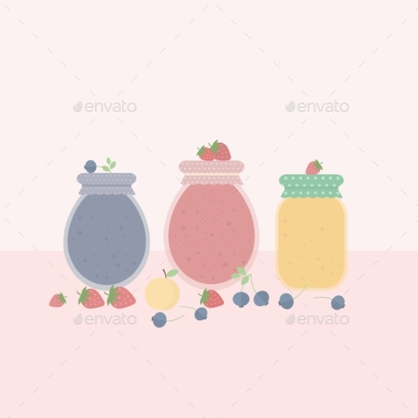 Glass Jars of Jam - Food Objects
