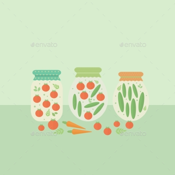 Glass Jars with Vegetables  - Food Objects