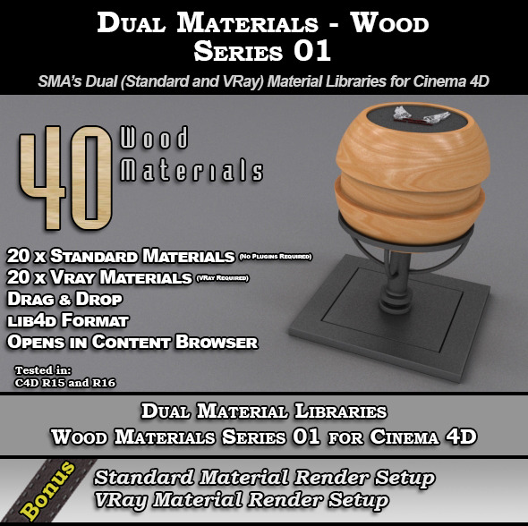 SMA's Dual Material Pack - Wood - S01 for C4D - 3DOcean Item for Sale