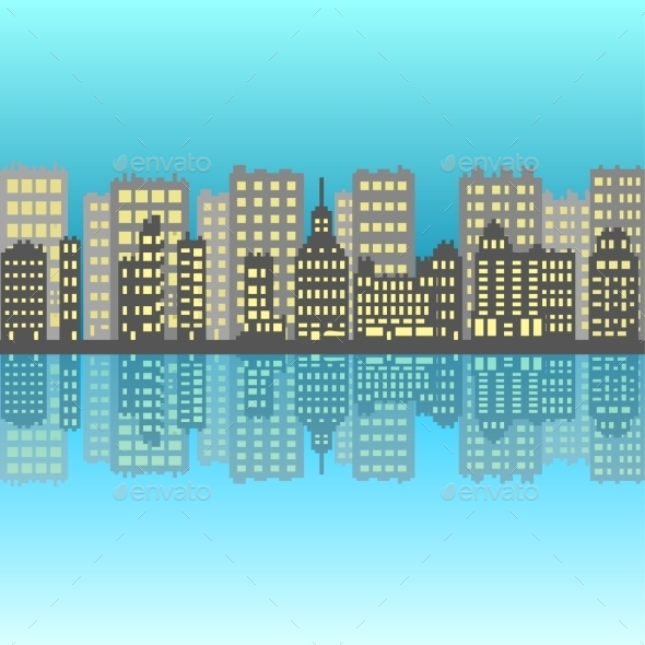 Set of Pixel Small Buildings - Backgrounds Business