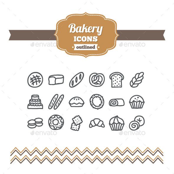 Hand Drawn Bakery Icons - Food Objects