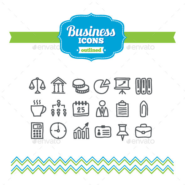 Hand Drawn Business Icons - Business Icons