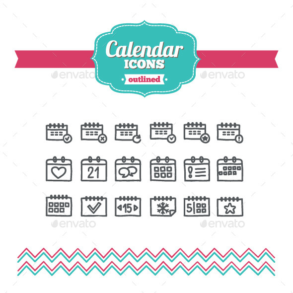 Hand Drawn Calendar Icons - Business Icons