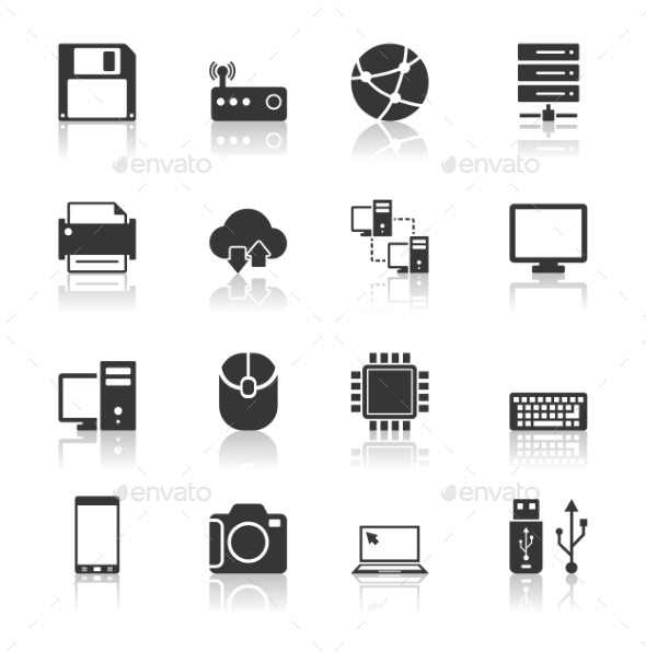 Technology Icons Set with Reflection - Technology Icons
