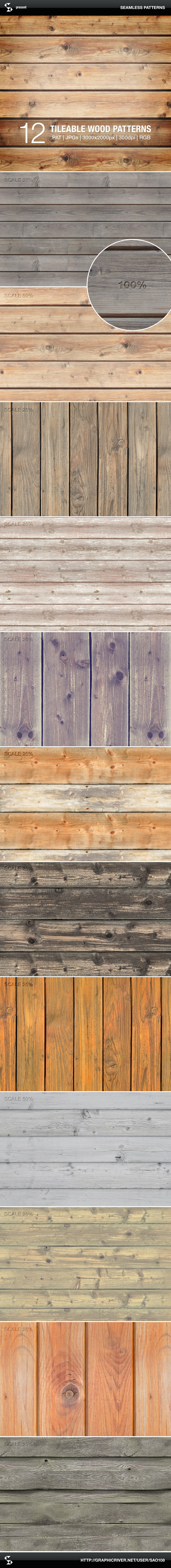 Wood Patterns - Tileable Wooden Boards - Textures / Fills / Patterns Photoshop