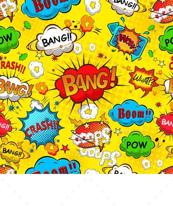 Comic Speech Bubbles Seamless Pattern Vector - Patterns Decorative