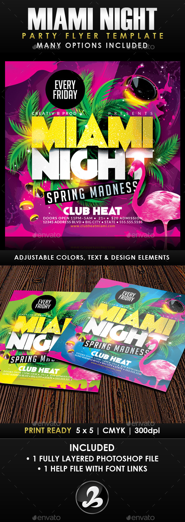 Miami Night Party Flyer Template - Clubs & Parties Events