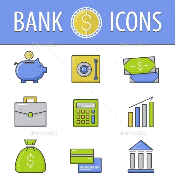 Banking Icons Set - Business Conceptual