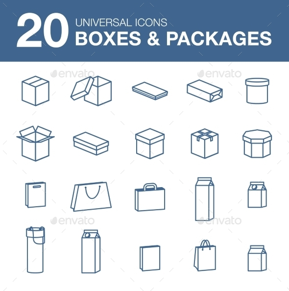 Icons boxes and Packaging simple linear style - Miscellaneous Icons