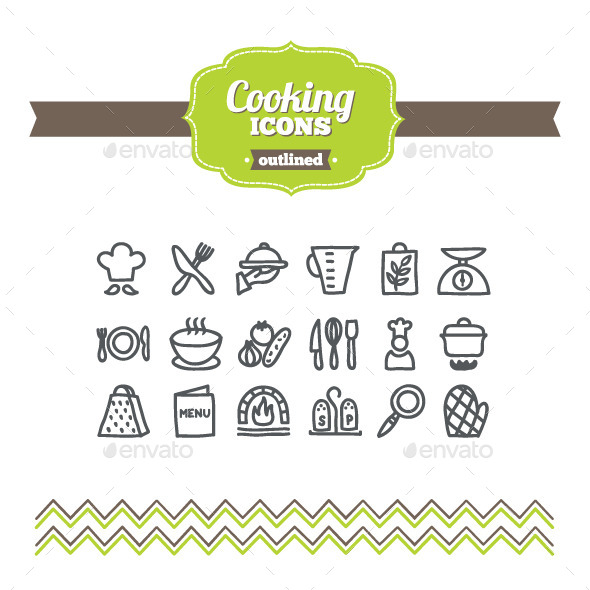 Hand Drawn Cooking Icons - Food Objects