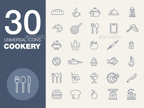 Kitchen Seamless Pattern 30 Icon Set - Food Objects