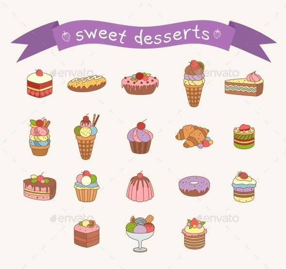Different Sweets Icons Set  - Food Objects