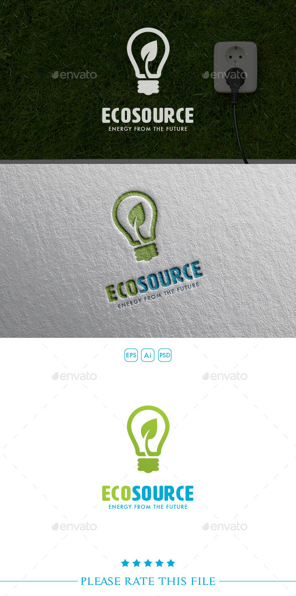 Eco Source Bulb Logo - Objects Logo Templates