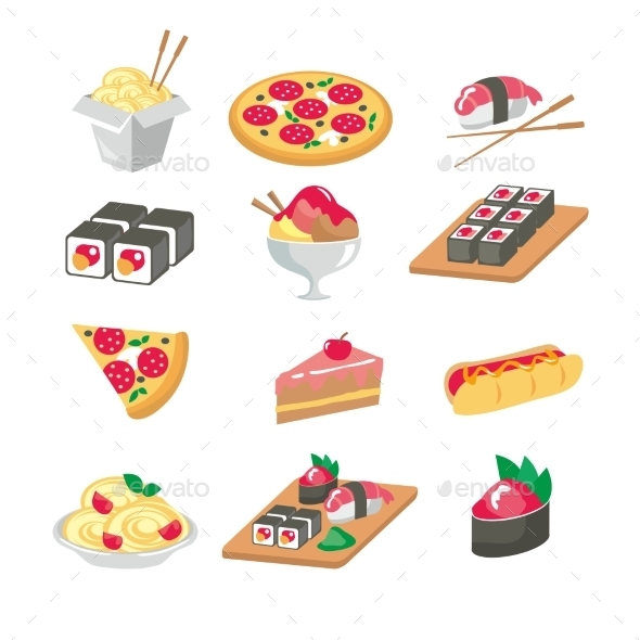 Various Food Icons Set - Fruit, Vegetables, Meat,  - Food Objects