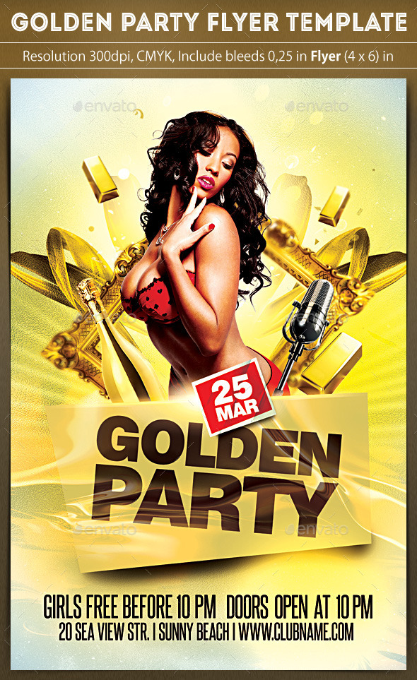 Golden Party Flyer - Clubs & Parties Events
