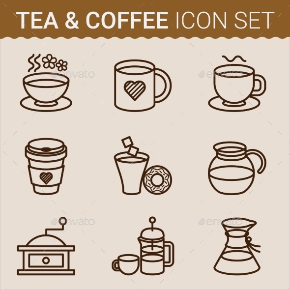 Set of Coffee Icons. Vector illustration - Food Objects