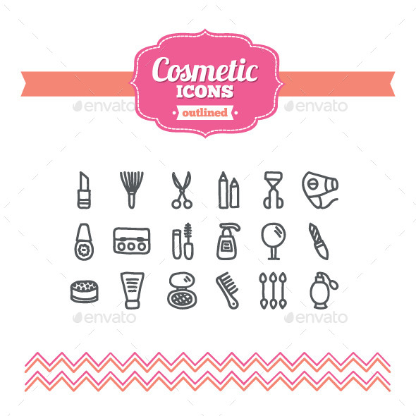 Hand Drawn Cosmetic Icons - Objects Icons