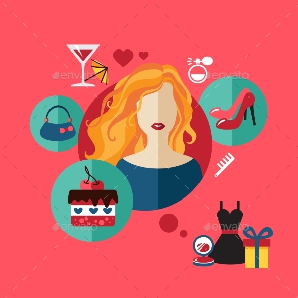 Woman Shopping Flat Icon - People Characters