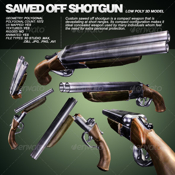 Custom Sawed Off Shoot-Gun - 3DOcean Item for Sale