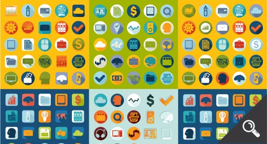 Sets of flat icons