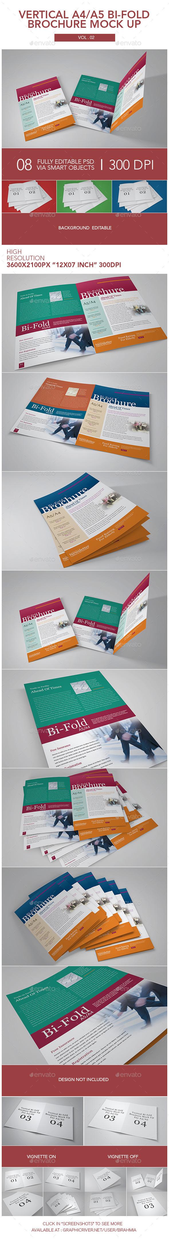 Vertical A4_A5 Bi-fold Brochure Mock Up - Brochures Print