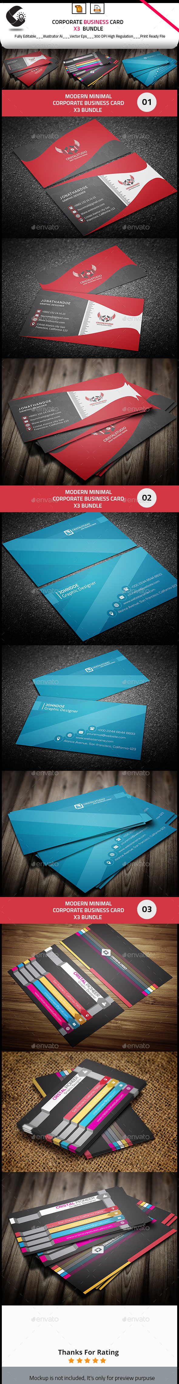 Business Card Bundle 3 in 1 - Corporate Business Cards