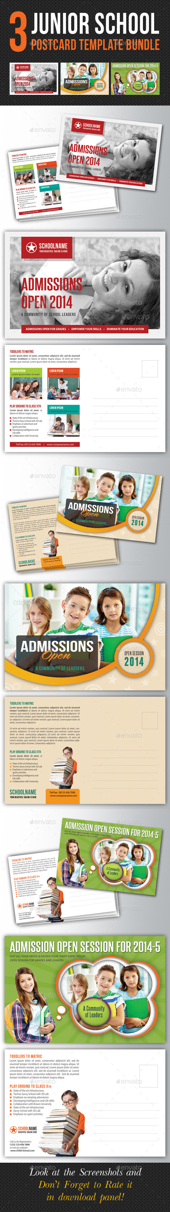 3 in 1 Junior School Promotion Postcard Bundle 01 - Cards & Invites Print Templates