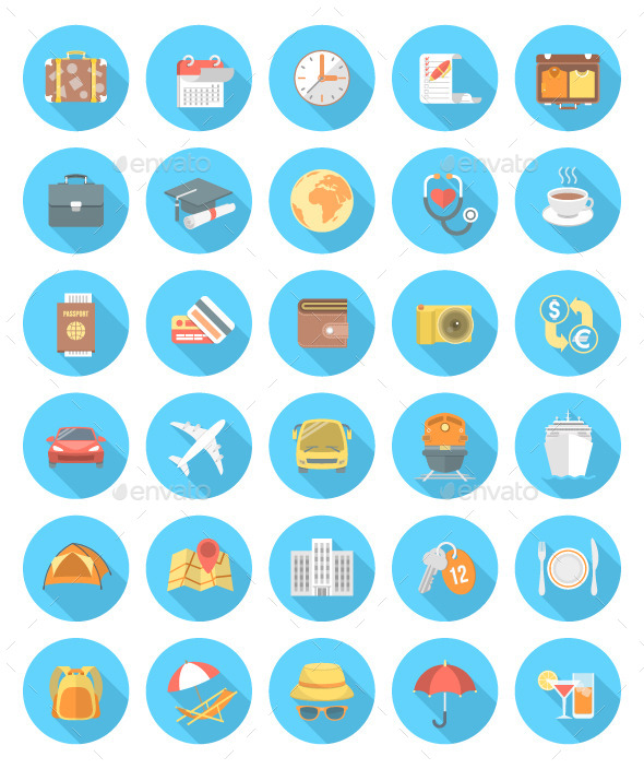 Modern Flat Traveling Icons - Abstract Icons
