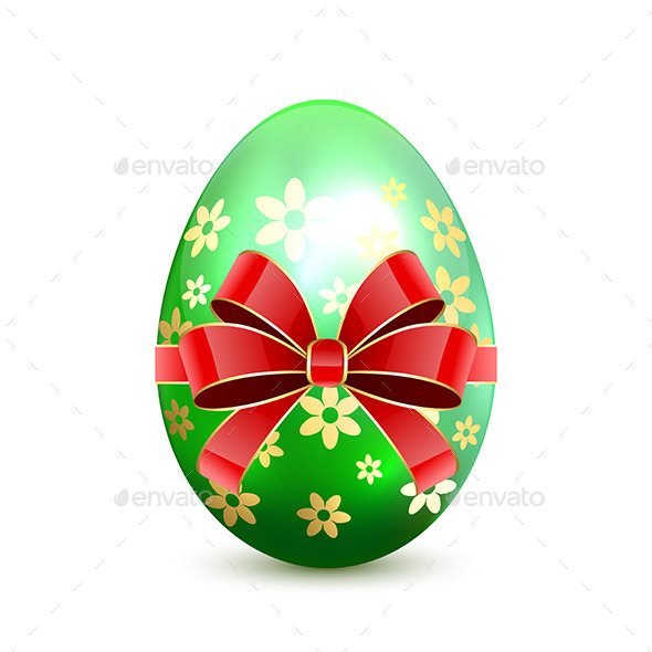 Green Easter Egg with Bow - Decorative Symbols Decorative