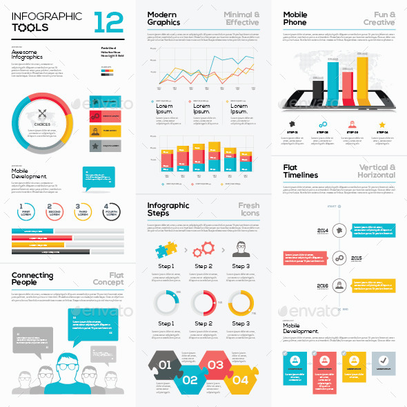 Infogrpahic Vector Templates Collection 12 - Infographics