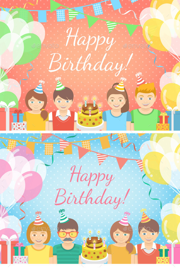 Pink and Blue Kids Birthday Party Backgrounds - Birthdays Seasons/Holidays