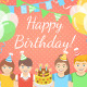 Pink and Blue Kids Birthday Party Backgrounds - GraphicRiver Item for Sale