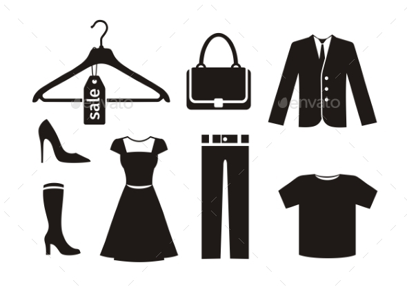 Clothes Icon Set - Man-made Objects Objects
