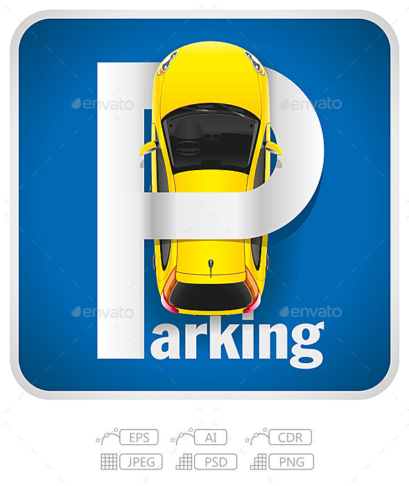 Car Parking Sign - Man-made Objects Objects