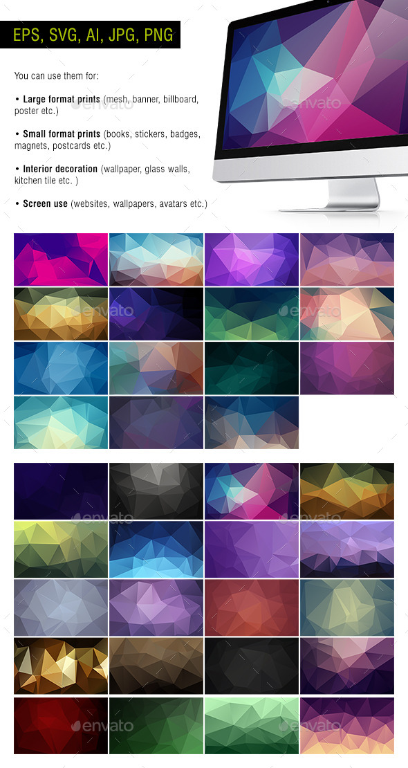 Polygon Backgrounds - Dark - Pack of 35 - Backgrounds Decorative