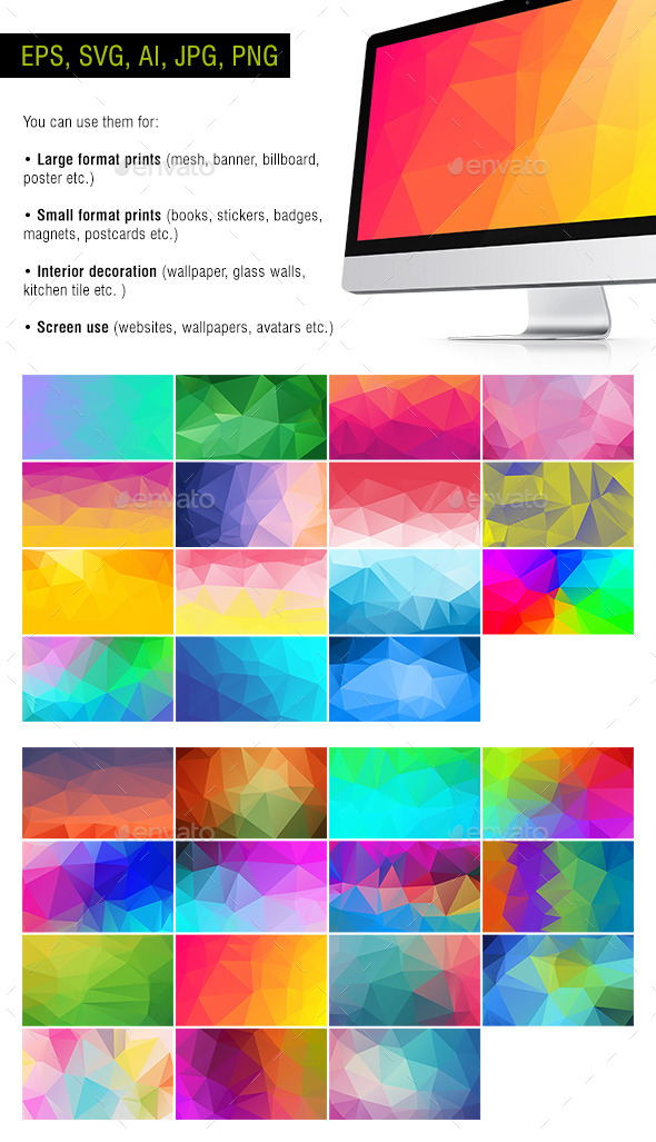 Polygon Backgrounds - Neon #2 - Pack of 30 - Backgrounds Decorative