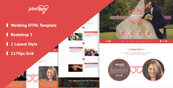 J&J – Responsive Bootstrap 3 Wedding Template