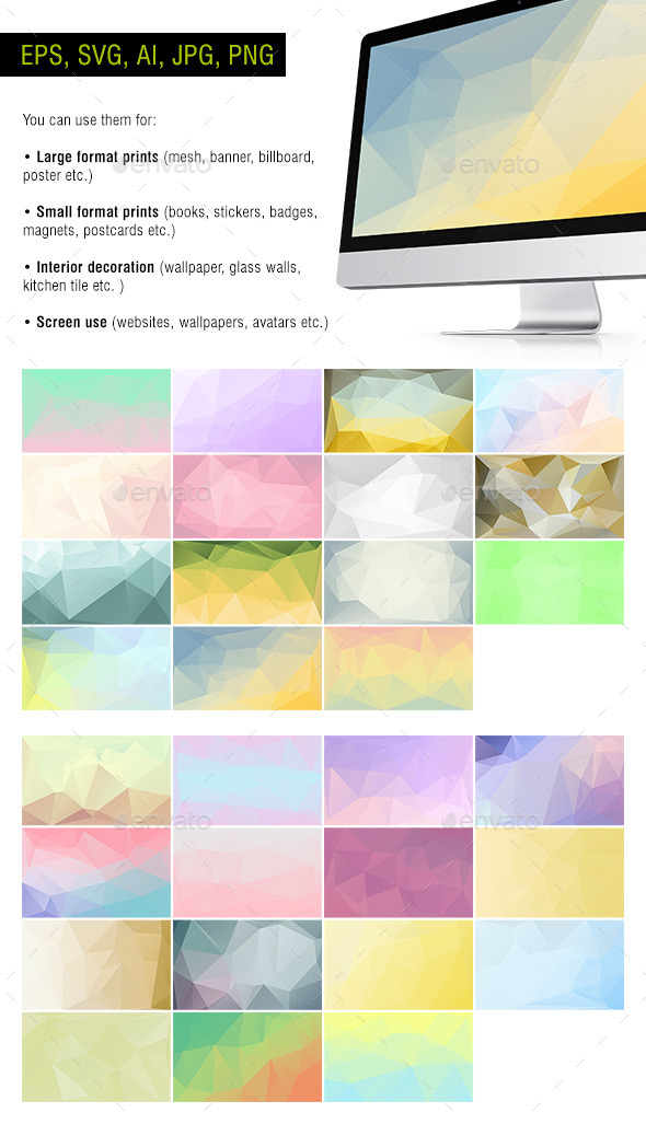 Polygon Backgrounds - Pastel - Pack of 30 - Backgrounds Decorative