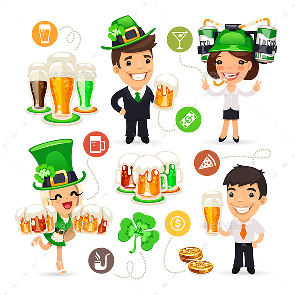 Office Workers on the Patricks Day Party - People Characters