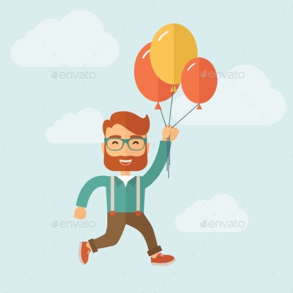 Hipster Flying in Blue Sky. - Birthdays Seasons/Holidays