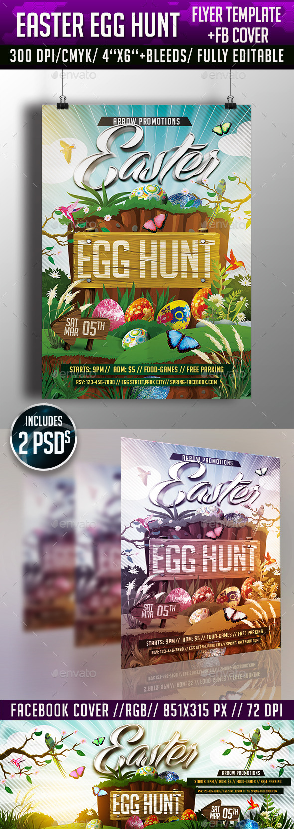 Easter Egg Hunt Flyer Template - Clubs & Parties Events