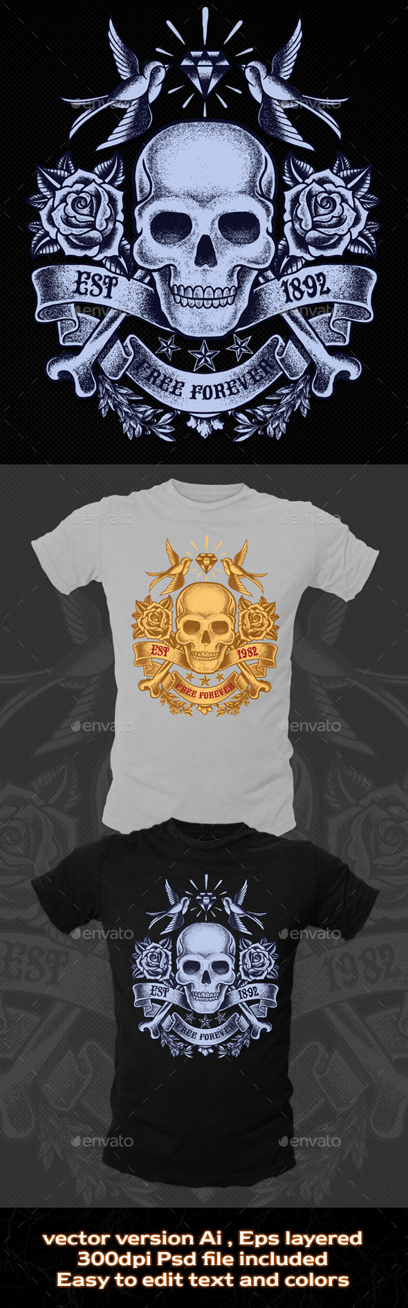 Old Skull T-shirt Template - Grunge Designs