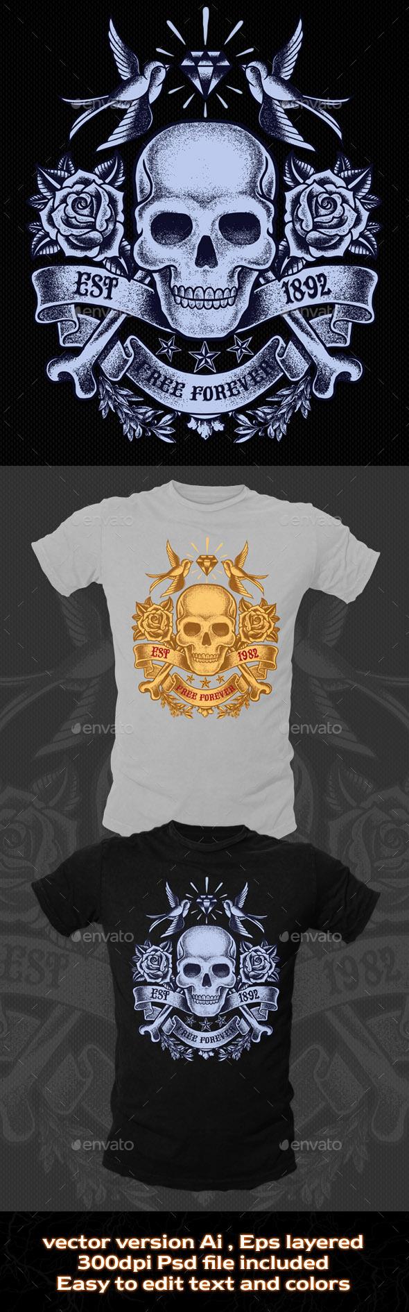 Old Skull T-shirt Template - Grunge Designs