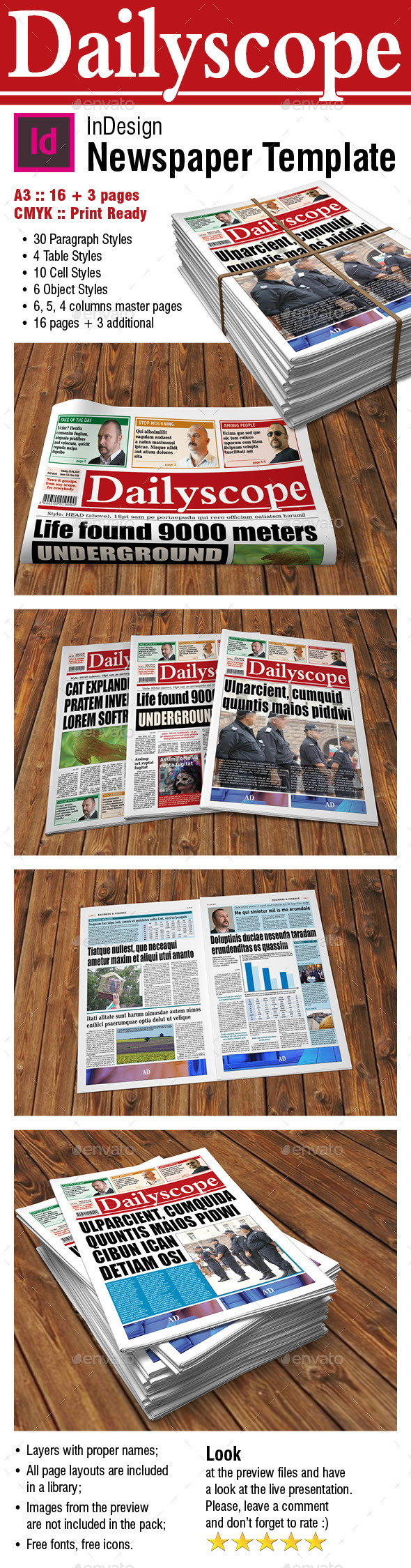 DailyScope - Newspaper Template (16 + 3 Pages) - Newsletters Print Templates