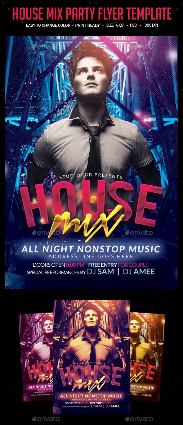 House Mix  Flyer Template - Clubs & Parties Events