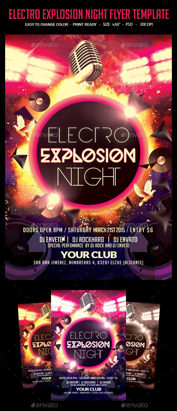 Electro Explosion Night Flyer Template - Clubs & Parties Events