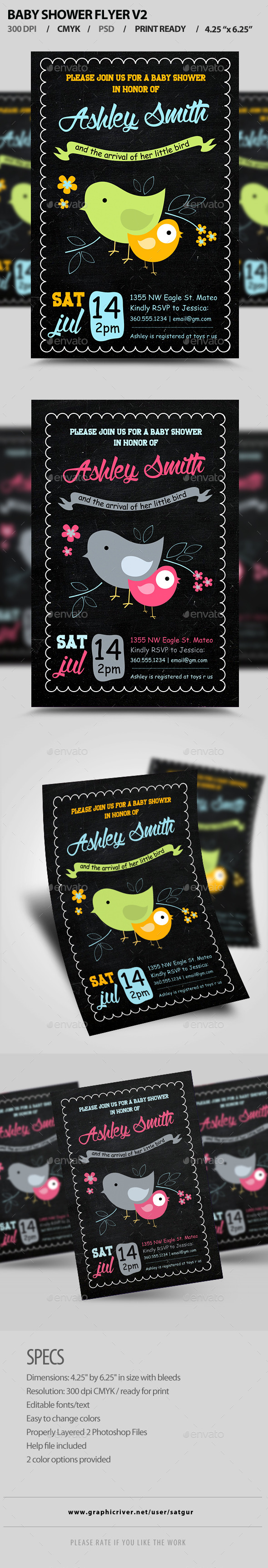 Baby Shower Flyer Template PSD V2 - Invitations Cards & Invites